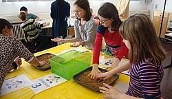 Schüler mit Sand Schüler lernen die Zahlen kennen