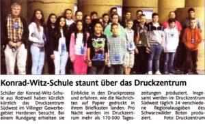 Gruppenbild Klasse 10 Ausflug Zeitungsartikel
