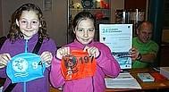 Schülerinnen zeigen ihre erworbenen Badekappen nach guter Leistung