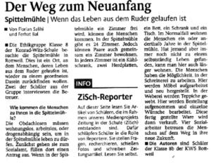 Zeitungsartikel Ethikgruppe der KWs verfasst einen Artikel in der Zeitung
