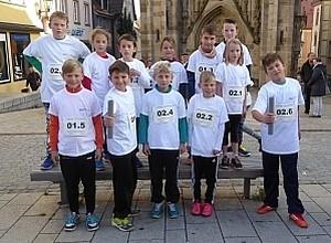 Gruppenfoto Schüler bei Stadtlauf