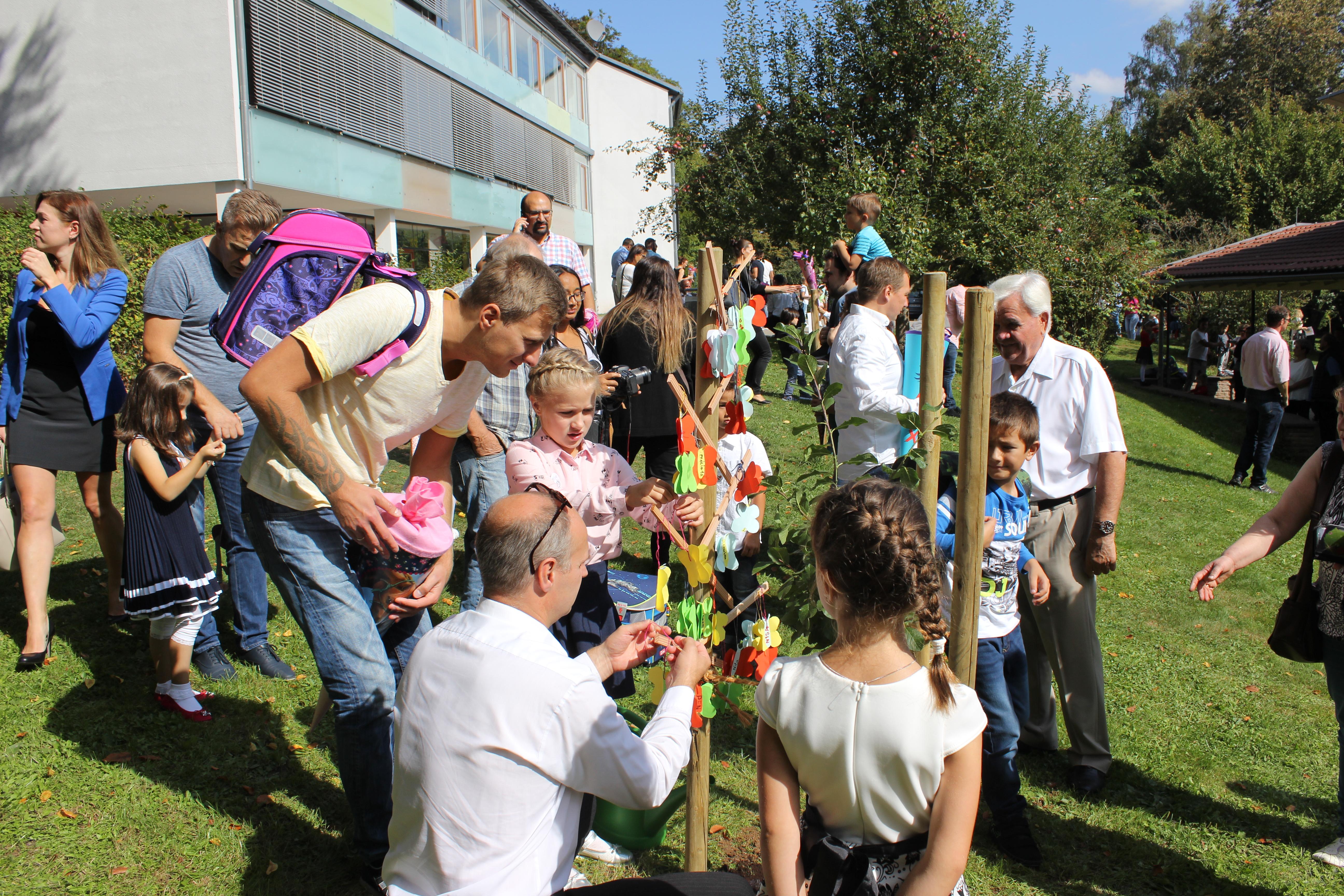 Einschulungsbaum Reneklode wird geschmückt