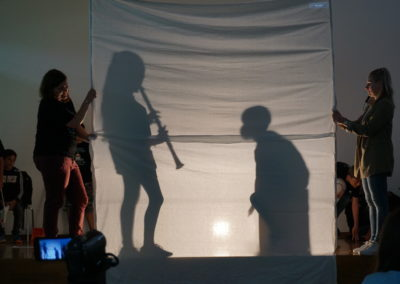Schattentheater als Rückblick auf die Grundschulzeit Aufführung des Schattentheaters